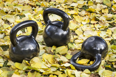 Kettlebells Amongst the Fall Leaves